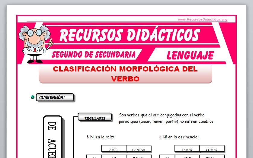 Ficha de Clasificación Morfológica del Verbo para Segundo de Secundaria