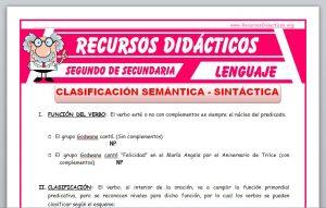 Ficha de Clasificación Semántica y Sintáctica del Verbo para Segundo de Secundaria