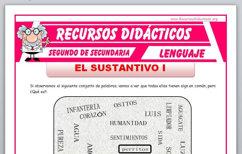 Ficha de Clasificación del Sustantivo para Segundo de Secundaria