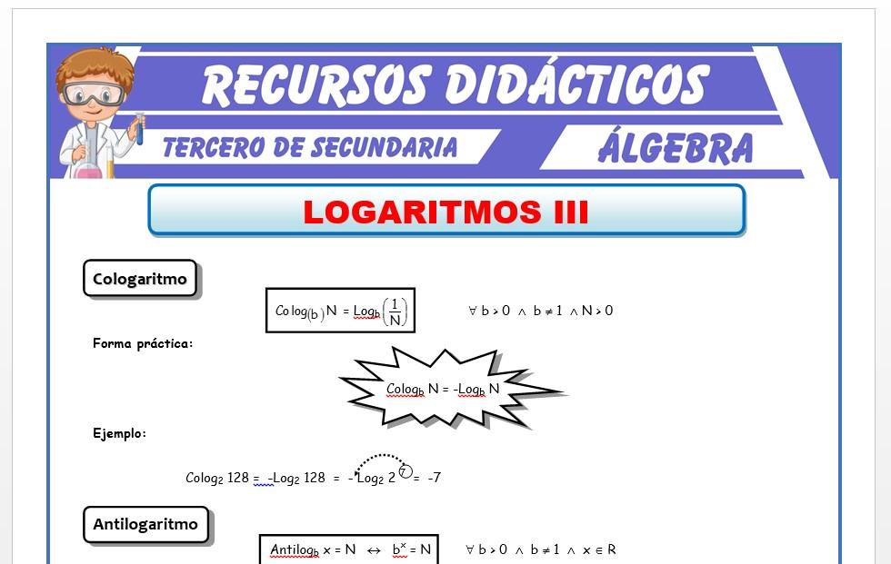 Ficha de Cologaritmo y Antilogaritmo para Tercero de Secundaria