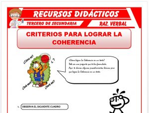 Ficha de Cómo lograr la Coherencia para Tercero de Secundaria
