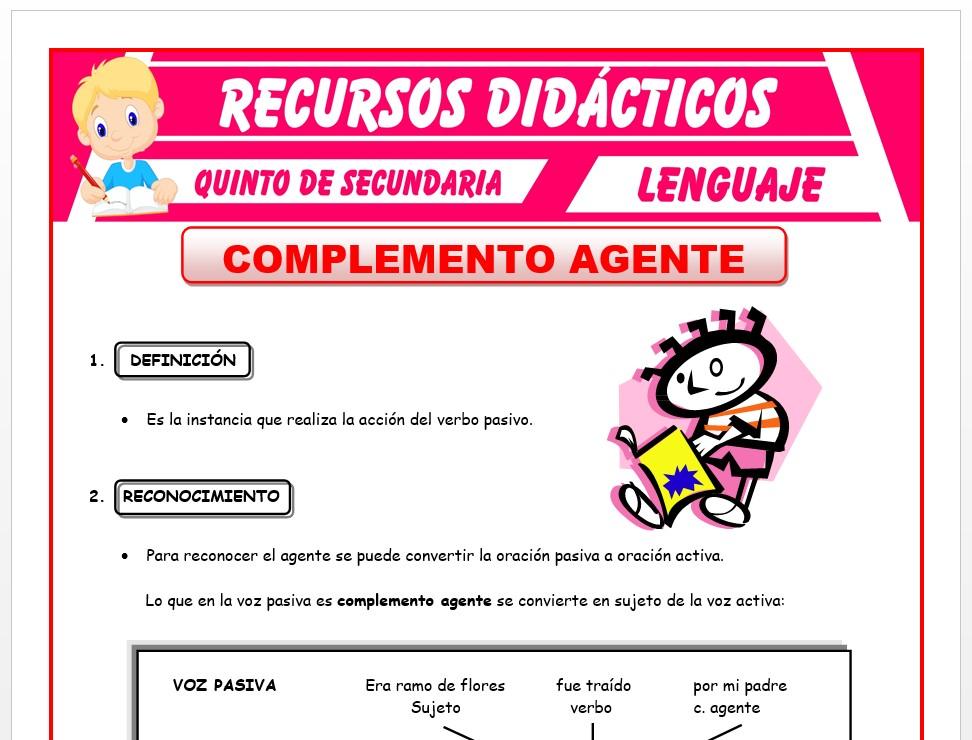Ficha de Complemento Agente para Quinto de Secundaria