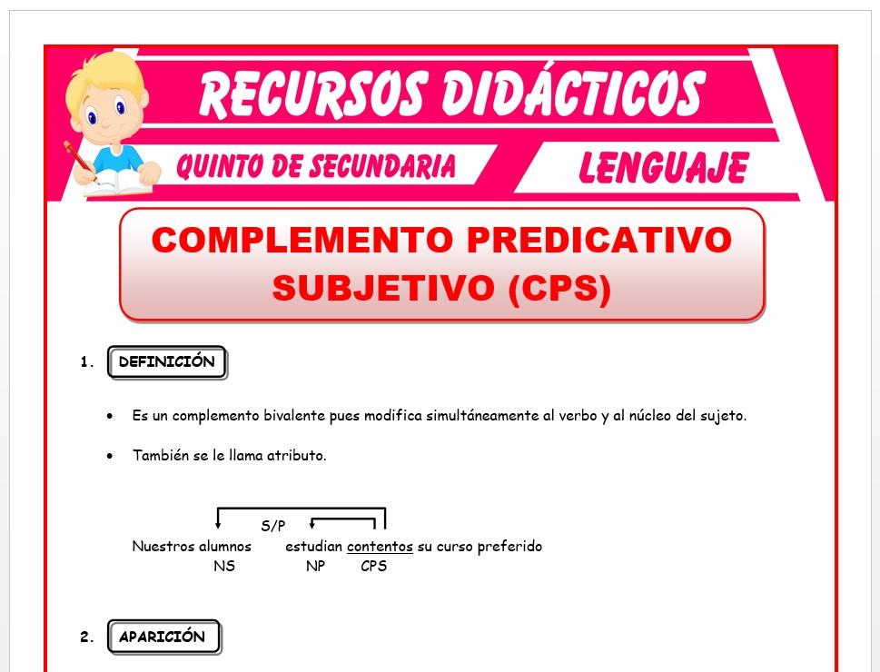 Ficha de Complemento Predicativo Subjetivo para Quinto de Secundaria