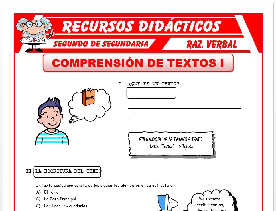 Ficha de Comprensión de Textos para Segundo de Secundaria