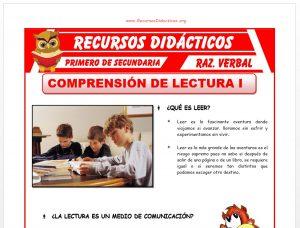 Ficha de Comprensión Lectura para Primero de Secundaria