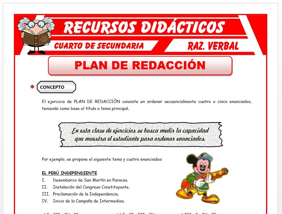 Ficha de Concepto de Plan de Redacción para Cuarto de Secundaria