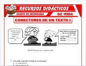 Ficha de Conectores de Texto para Cuarto de Secundaria