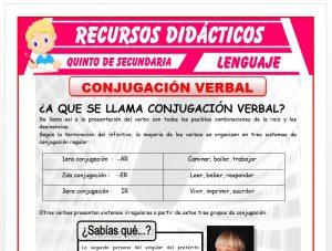 Ficha de Conjugación Verbal para Quinto de Secundaria
