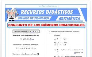 Ficha de Conjunto de los Números Irracionales para Segundo de Secundaria