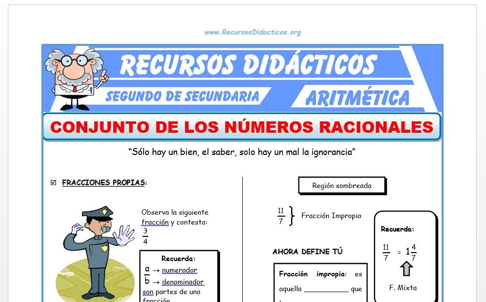 Ficha de Conjunto de los Números Racionales para Segundo de Secundaria