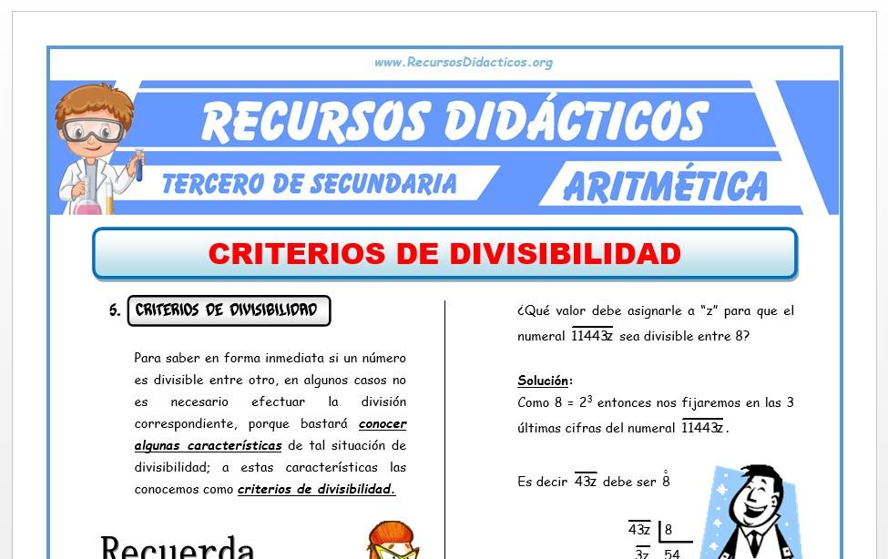 Ficha de Criterios de Divisibilidad para Tercero de Secundaria