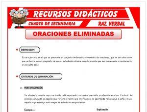 Ficha de Criterios para Eliminar Oraciones para Cuarto de Secundaria