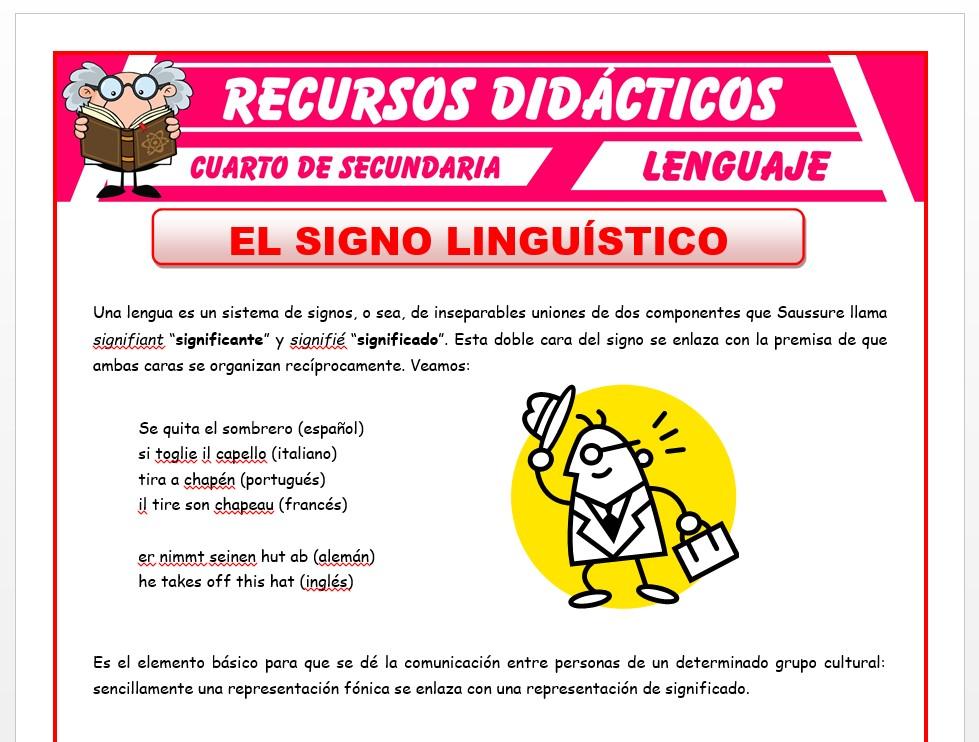 Ficha de Definición del Signo Linguistico para Cuarto de Secundaria