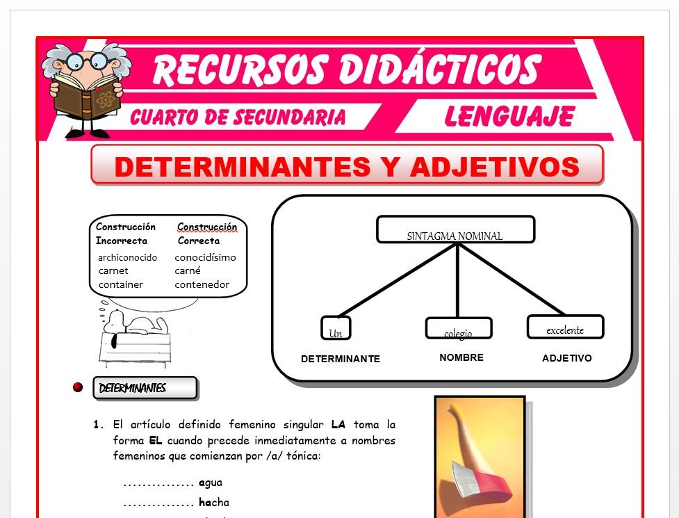 Ficha de Determinantes y Adjetivos para Cuarto de Secundaria