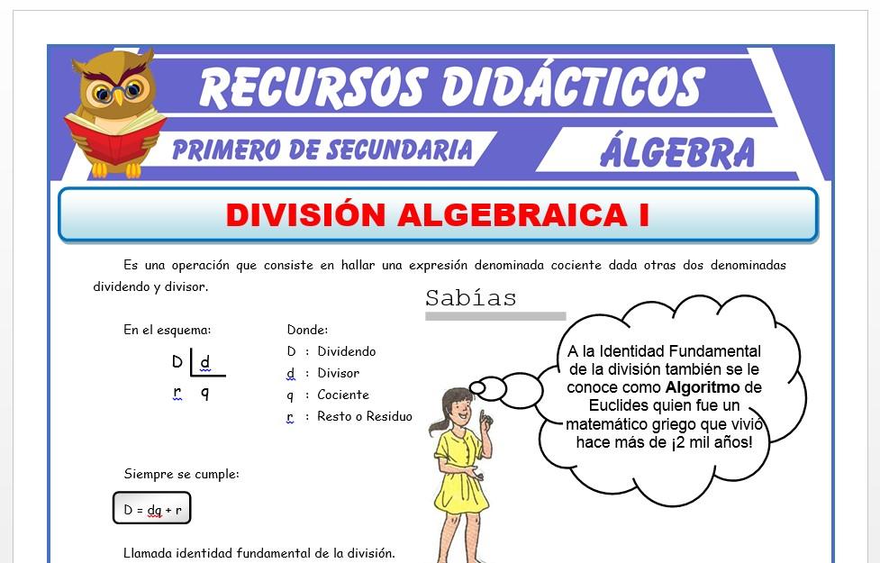 Ficha de División Algebraica para Primero de Secundaria