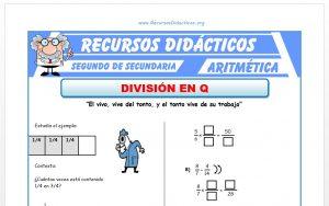 Ficha de División de Fracciones para Segundo de Secundaria