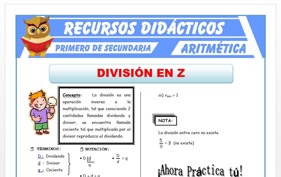 Ficha de División de Números Enteros para Primero de Secundaria