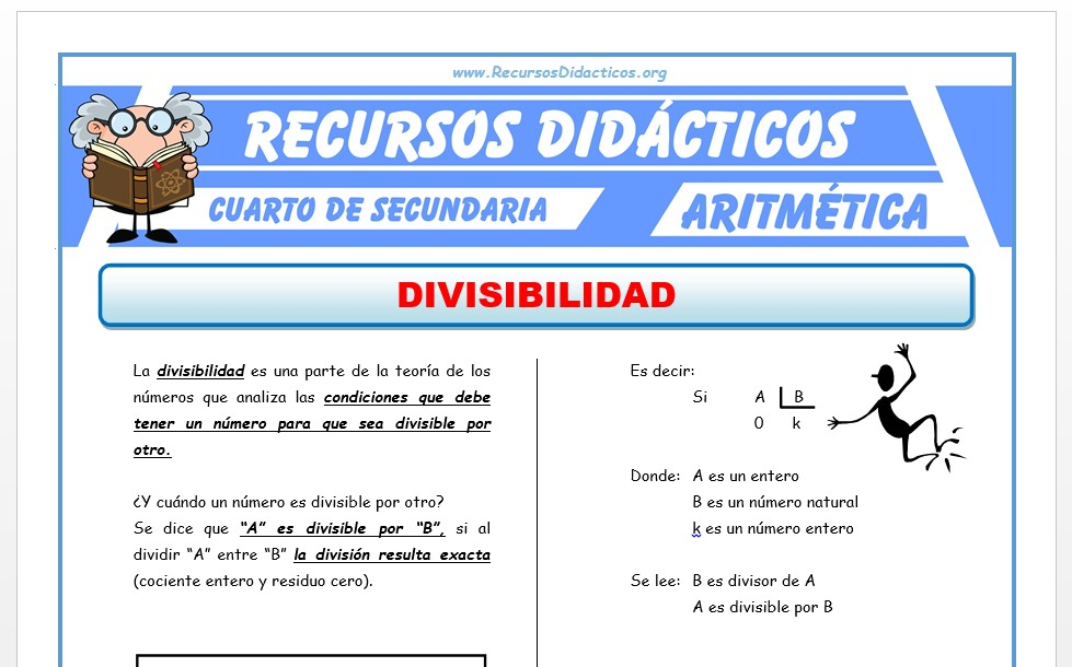 Ficha de Divisibilidad ejercicios para Cuarto de Secundaria