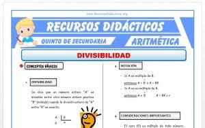Ficha de Divisibilidad para Quinto de Secundaria