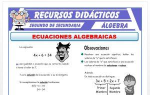 Ficha de Ecuaciones Algebraicas para Segundo de Secundaria