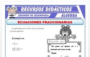 Ficha de Ecuaciones Fraccionarias para Segundo de Secundaria