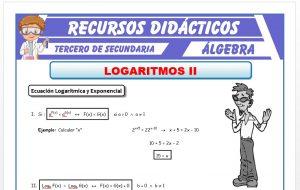 Ficha de Ecuaciones Logarítmica y Exponencial para Tercero de Secundaria