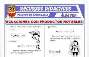 Ficha de Ecuaciones con Productos Notables para Primero de Secundaria