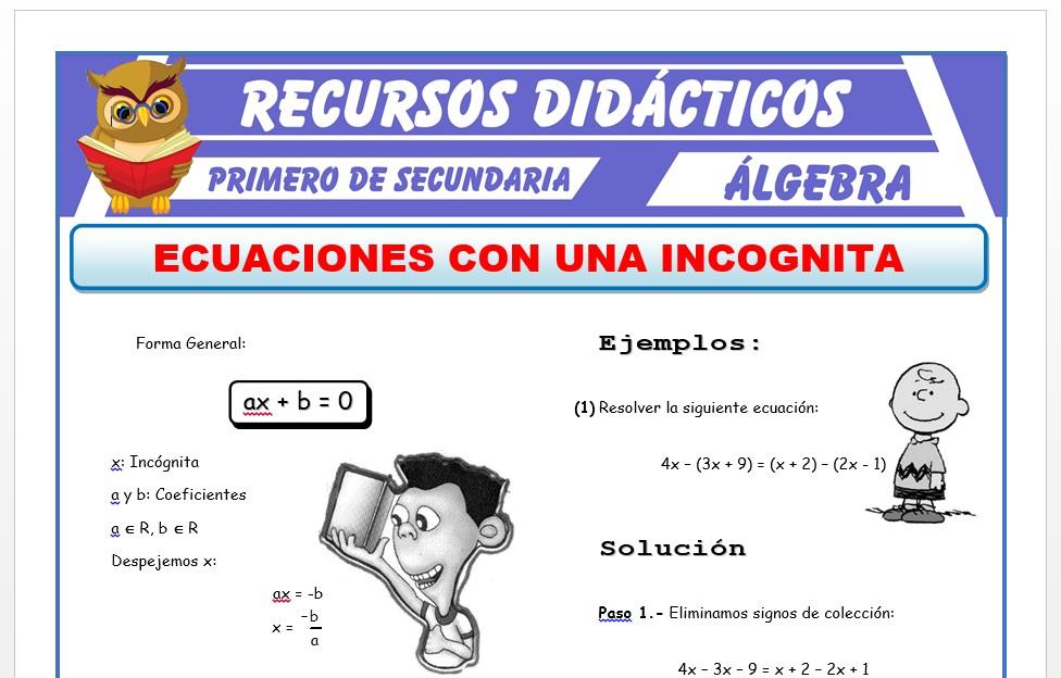 Ficha de Ecuaciones con Una Incognita para Primero de Secundaria
