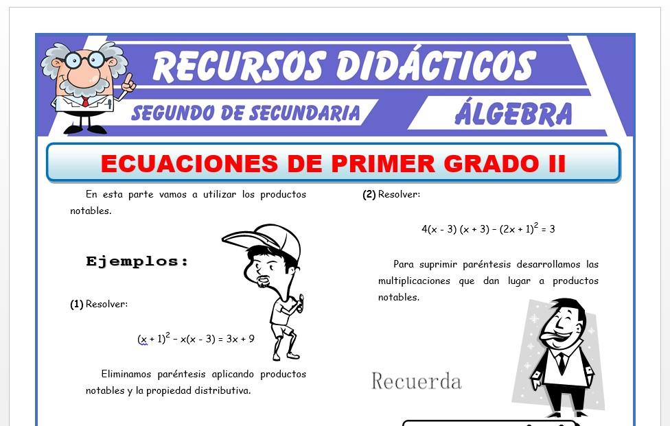 Ficha de Ecuaciones de 1er Grado con Productos Notables para Segundo de Secundaria