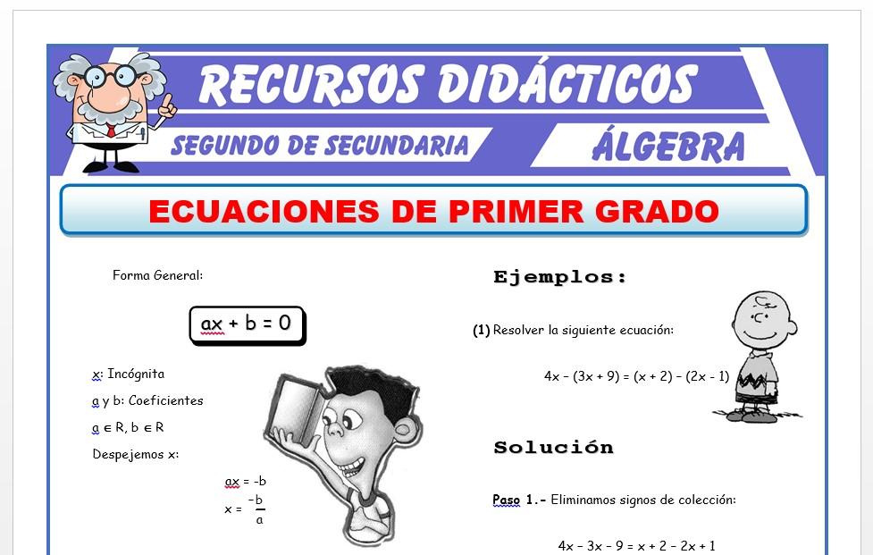 Ficha de Ecuaciones de 1er Grado con Una Incognita para Segundo de Secundaria