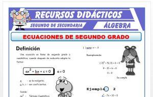 Ficha de Ecuaciones de 2do Grado para Segundo de Secundaria