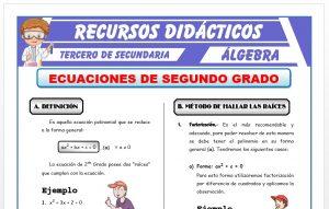 Ficha de Ecuaciones de Segundo Grado para Tercero de Secundaria