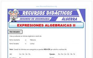 Ficha de Ejercicios con Expresiones Algebraicas para Segundo de Secundaria