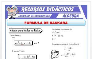 Ficha de Ejercicios con la Formula de Baskara para Segundo de Secundaria