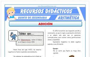 Ficha de Ejercicios de Adición para Quinto de Secundaria