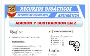 Ficha de Ejercicios de Adición y Sustracción para Primero de Secundaria