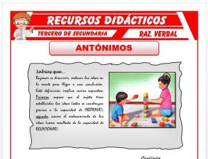 Ficha de Ejercicios de Antónimos para Tercero de Secundaria