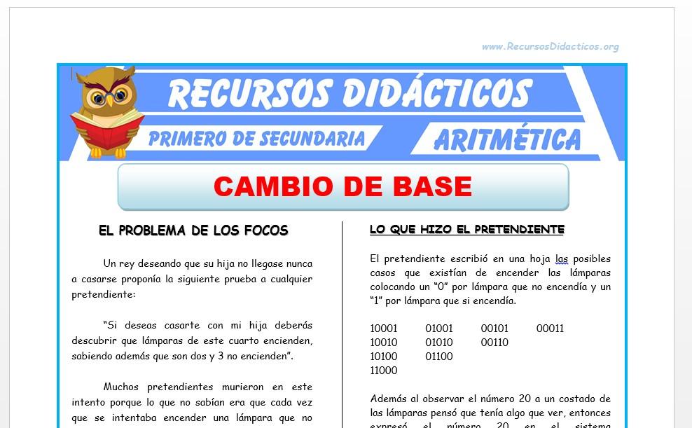 Ficha de Ejercicios de Cambio de Base para Primero de Secundaria