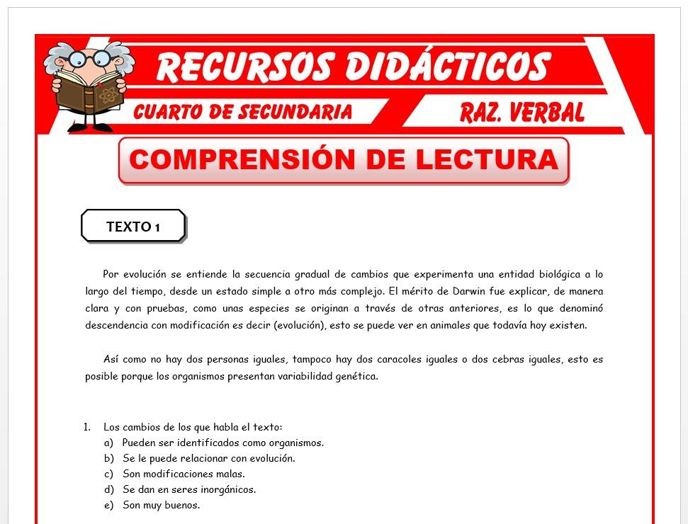 Ficha de Ejercicios de Comprensión de Lecturas para Cuarto de Secundaria