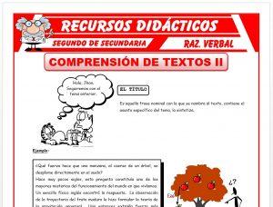 Ficha de Ejercicios de Comprensión de Textos para Segundo de Secundaria