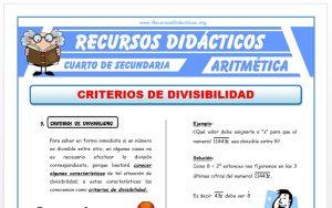 Ficha de Ejercicios de Criterios de Divisibilidad para Cuarto de Secundaria