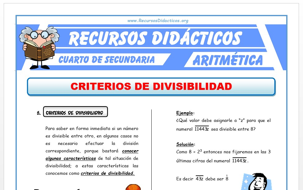 Ejercicios de Criterios de Divisibilidad para Cuarto de ...