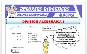 Ficha de Ejercicios de División Algebraica para Segundo de Secundaria