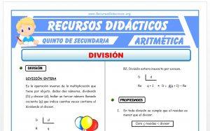 Ficha de Ejercicios de División para Quinto de Secundaria