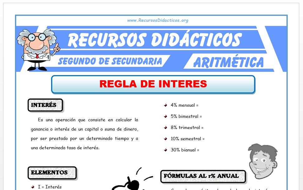 Ficha de Ejercicios de Interés para Segundo de Secundaria