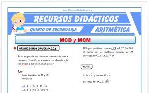 Ficha de Ejercicios de MCM y MCD para Quinto de Secundaria