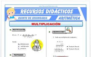 Ficha de Ejercicios de Multiplicación para Quinto de Secundaria