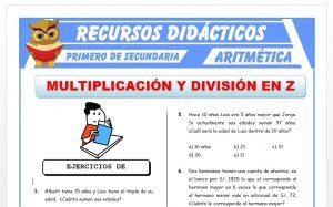 Ficha de Ejercicios de Multiplicación y División para Primero de Secundaria