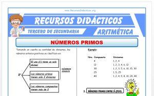 Ficha de Ejercicios de Números Primos para Tercero de Secundaria