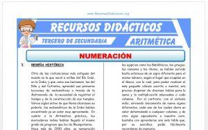 Ficha de Ejercicios de Numeración para Tercero de Secundaria
